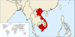 Vietnam at its greatest territorial extent in 1840 (under Emperor Minh Mạng), superimposed on the modern political map