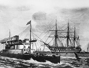 Colonial navies of Australia - An artist's impression of the ironclad HMVS Cerberus (left) and the training ship HMVS Nelson (right). The Victorian naval force was considered the most powerful of all the colonial naval forces.