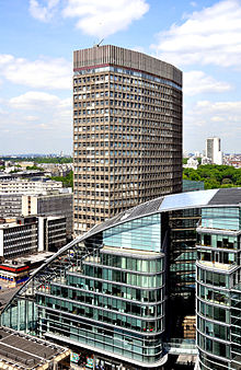 View from Westminster Cathedral 2011 Portland House Cardinal Place.jpg