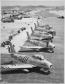 View of F-86 airplanes on the flight line getting ready for combat. Air Force. - NARA - 541958.tif