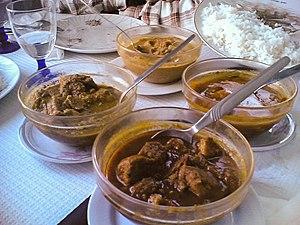 Pork vindalho, served in Lisbon, Portugal, in a goan restaurant