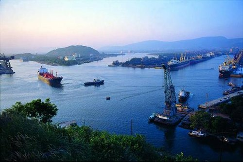 The city of Visakhapatnam in India is a major port of the Bay of Bengal VizagPort.jpg