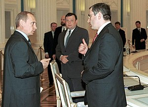 Mikhail Khodorkovsky - President Putin with Khodorkovsky (right) and Mikhail Fridman (centre), May 2001