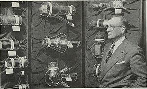 Video camera tube - A display of a variety of early experimental video camera tubes from 1954, with Vladimir K. Zworykin who invented the iconoscope