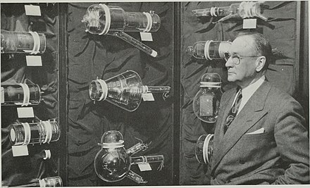 Zworykin and some of the historic camera tubes he developed Vladimir Zworykin and historic TV tubes.jpg