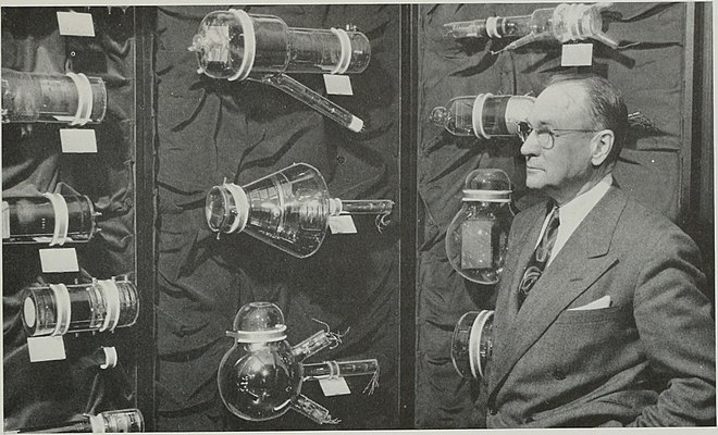 A display of a variety of early experimental video camera tubes from 1954, with Vladimir K. Zworykin who invented the iconoscope Vladimir Zworykin and historic TV tubes.jpg