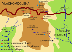 Megleno-Romanians - Map of Megleno-Romanians settlements in Greece and Republic of Macedonia