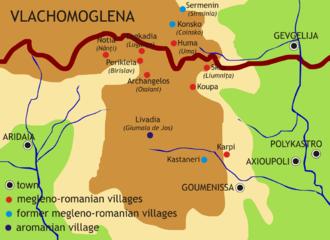 Megleno-Romanians - Map of Megleno-Romanians settlements in Greece and Republic of Macedonia