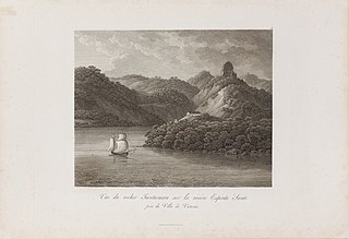 Vue du rocher Tucutucuara sur la rivière près de Villa de Victoria