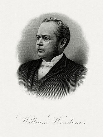 William Windom - Bureau of Engraving and Printing portrait of Windom as Secretary of the Treasury.