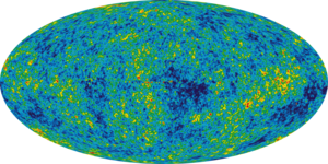 The Cosmic Microwave Background as seen by NASA's Wilkinson Microwave Anisotropy Probe. Projected from full-sky using the Mollweide projection.