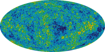 Image of radiation emitted no more than a few hundred thousand years after the big bang, captured with the satellite telescope WMAP