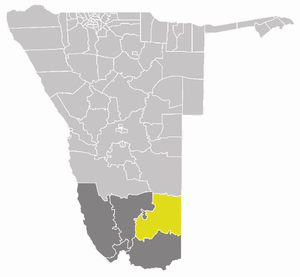 Keetmanshoop Rural - Keetmanshoop Rural constituency (yellow) in the ǁKaras Region (dark grey) of southern Namibia