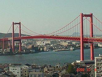 Tobata-ku, Kitakyūshū - The Waka-To O-hashi bridge from the Tobata side of the Dokai wan