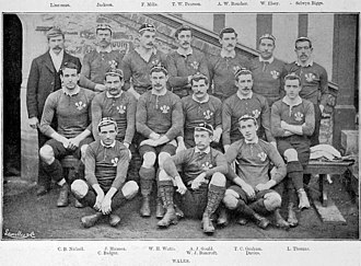 Arthur Gould (rugby union) - Wales team of 1895 before the England encounter. Gould is in the second row, sitting third from right.