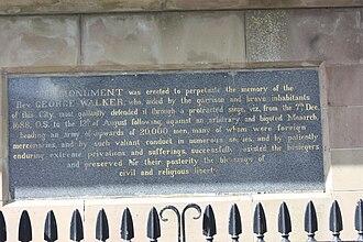 George Walker (soldier) - Inscription on the Walker Plinth