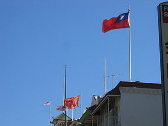 One-China policy - Flag of the Republic of China (right) and People's Republic of China flying together in Chinatown, San Francisco, revealing different political views from overseas Chinese.