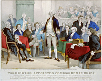 George Washington in the American Revolution - Currier and Ives depiction of Washington accepting his Continental Army commission from the Second Continental Congress