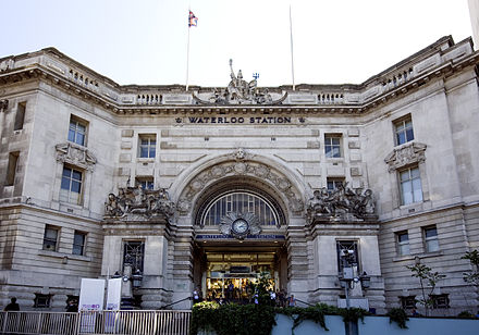 The Victory Arch, the station's main entrance, was constructed by James Robb Scott and commemorates Britain's involvement in World War I. Waterloo Station Victory Arch.jpg