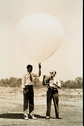 Radiosonde - U.S. Bureau of Standards personnel launch radiosonde near Washington, DC in 1936