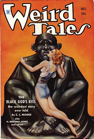 """Jirel of Joiry - Cover of the October 1934 issue of Weird Tales, featuring the first Jirel of Joiry story """"Black God's Kiss""""."""