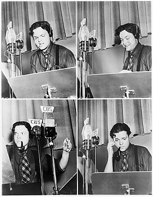 The Campbell Playhouse (radio) - Orson Welles during a rehearsal of The Campbell Playhouse (December 1938)