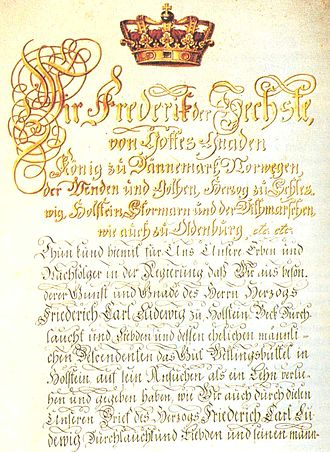 Wellingsbüttel Manor - Deed of enfeoffment of Friedrich Karl Ludwig, Duke of Schleswig-Holstein-Sonderburg-Beck  with Wellingsbüttel Manor  by Frederick VI of Denmark (1810); now on display in the Alstertal Museum in the manor gatehouse