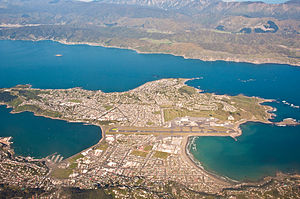 Miramar Peninsula - Wellington Airport in centre, with Miramar Peninsula beyond