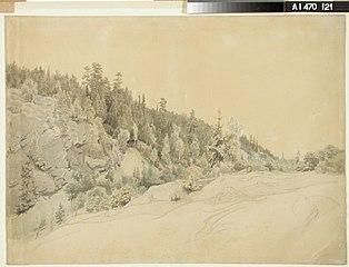 Maisema, vasemmalla metsänpeittämä vuori ja oikealla edessä tasaista maata