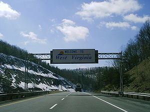 Interstate 64 in West Virginia - Entering West Virginia from Virginia on Interstate 64.