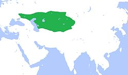 Greatest extent of the Western Turkic Khaganate after the Battle of Bukhara