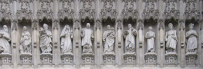 Statues of 20th-century martyrs on the façade above the Great West Door of Westminster Abbey. Those commemorated are Maximilian Kolbe, Manche Masemola, Janani Luwum, Grand Duchess Elizabeth of Russia, Martin Luther King, Jr., Óscar Romero, Dietrich Bonhoeffer, Esther John, Lucian Tapiedi, and Wang Zhiming.