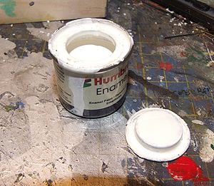 Tin of white paint of Humbrol