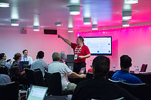 Wikimania 2014 - RexxS and Learn to edit Wikipedia session 3.jpg