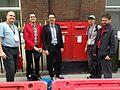 Wikipedians from Switzerland attending Wikimania 2014 in London.JPG