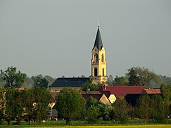 Wildenhain village and church, viewed from the north
