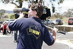 A camera operator for WIN News Gippsland.