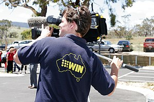 A camera operator for WIN News Gippsland.