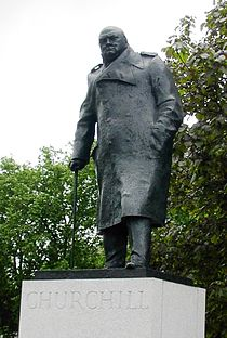 A statue of Sir Winston Churchill in Parliament Square.