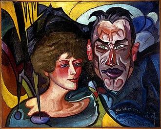 Jarosław Iwaszkiewicz - Portrait of Iwaszkiewicz and his wife Anna by Stanisław Ignacy Witkiewicz (1922)