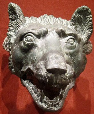 "Lupercalia - Lupercalia most likely derives from lupus, ""wolf,"" though both the etymology and its significance are obscure (bronze wolf's head, 1st century AD)"
