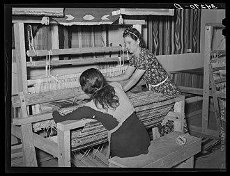 Works Progress Administration - Women in Costilla, New Mexico, weaving rag rugs in 1939