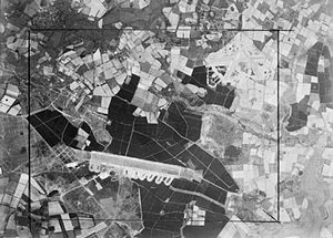 RAF Woodbridge - Aerial view showing Woodbridge ELG at lower left with RAF Bentwaters at upper right, World War II,