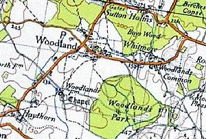Woodlands, Dorset - A historical map of Woodlands, Dorset in 1945
