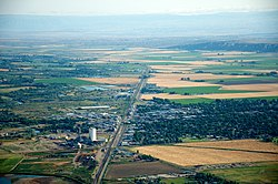 Aerial view of Worland, August 2011