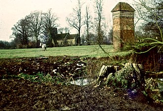 Worminghall - 1970 view of church and dovecote.