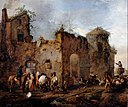 Wouwerman, Philips - Courtyard with a Farrier shoeing a Horse - Google Art Project.jpg