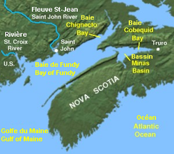 Carte de la Baie de Fundy.
