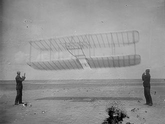 Wright Glider - Wilbur (left) and Orville flying their 1901 glider as a kite