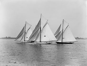 Edward Burgess (yacht designer) - J.A. Beebe's yacht Verena (1889), Augustus Hemenway's yacht Chiquita (1888) (both compromise centreboard sloop designs by Edward Burgess) and Charles H. Tweed's keel cutter Minerva (William Fife design, 1888), pictured in the Hovey Cup, July 13, 1889.